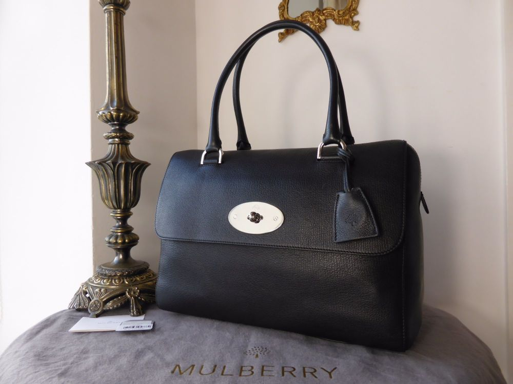 Mulberry Del Rey (Larger Sized) in Black Glossy Goat with Nickel Hardware -