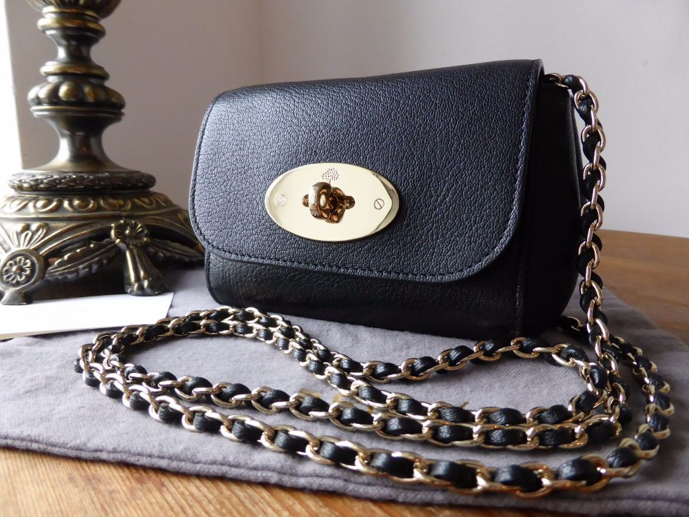 Mulberry Mini Lily in Black Glossy Goat Leather