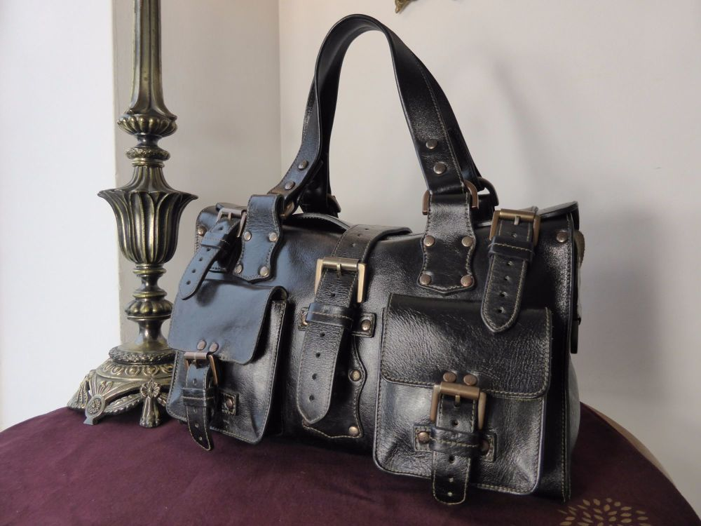 Mulberry Roxanne in Black Antique Glace Leather