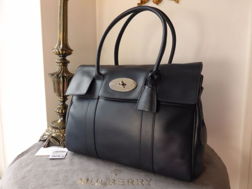 8e0b920473e7 Mulberry Bayswater Classic in Midnight Blue Soft Tan Leather - SOLD