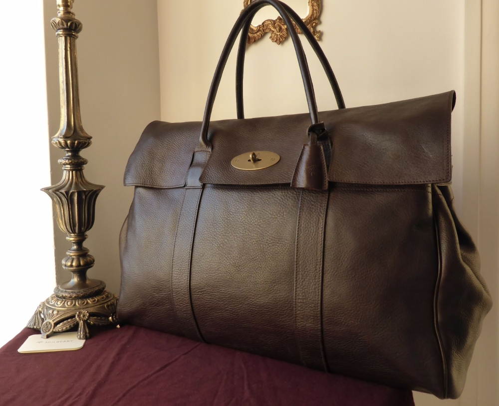Mulberry Piccadilly Large Travel Bag In Chocolate Darwin Leather