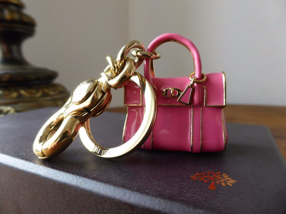 Mulberry Miniature Bayswater Keyring Charm in Peony Pink Enamel - New