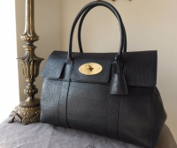 Mulberry Bayswater Classic in Midnight Blue Soft Croc Print