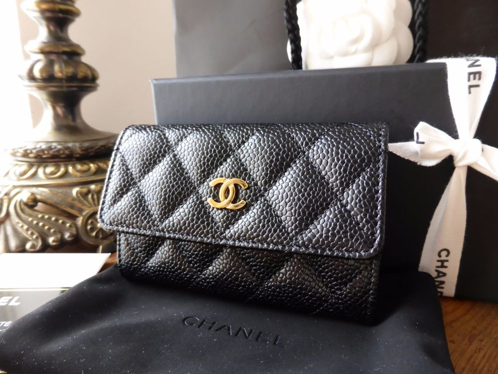 18b169f445e9 Chanel Classic CC Credit Card Case in Black Caviar Leather with Gold Hardwa