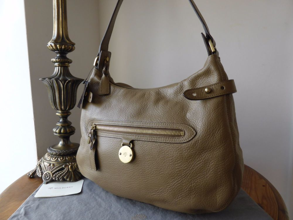Mulberry Somerset Hobo in Khaki Pebbled Leather - New