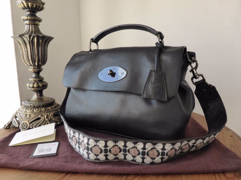 Mulberry Edie Satchel in Black Heavy Grain Leather
