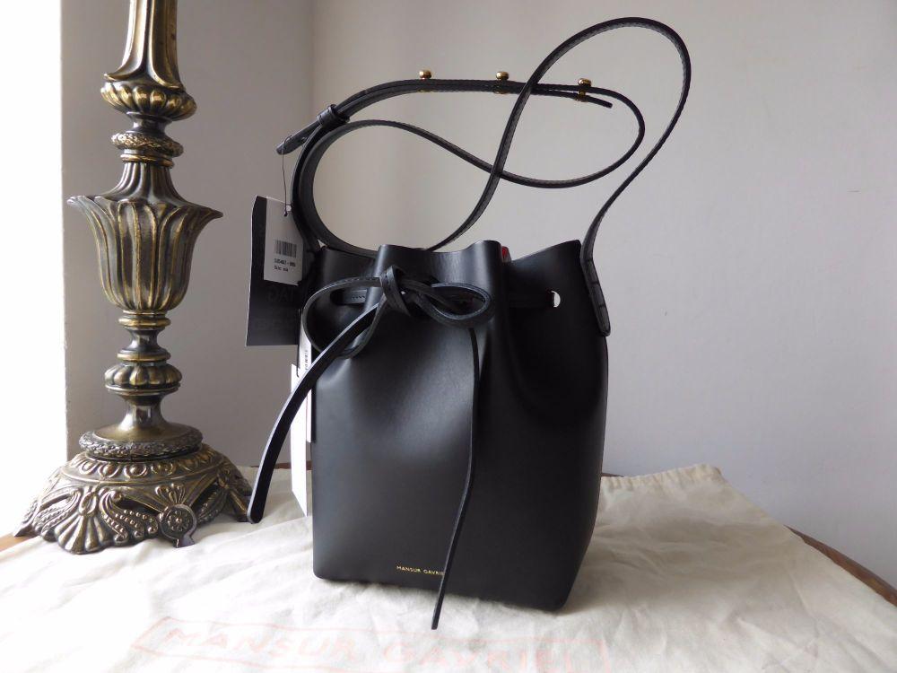 Mansur Gavriel Mini Mini Bucket Bag in Black with Red Interior - New