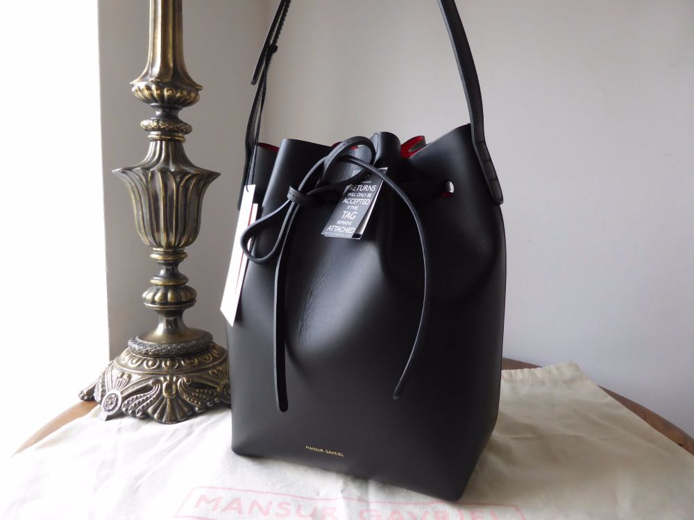 Mansur Gavriel Mini Bucket Bag in Black with Red Interior - New