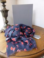 Mulberry Spring Leaves Printed Wrap Scarf in Midnight & Orchid Modal Cashmere Mix - As New*