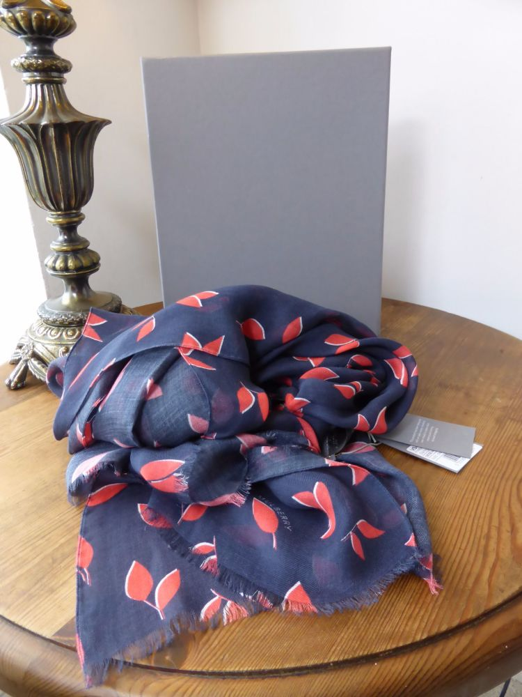 Mulberry Spring Leaves Printed Wrap Scarf in Midnight & Orchid Modal Cashme