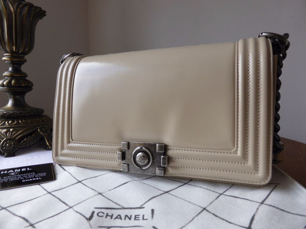360cd141db5e Chanel Medium Le Boy in Beige Patent Leather with Ruthenium Hardware.