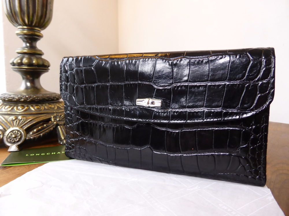 Longchamp Roseau Large Continental Wallet in Black Printed Leather