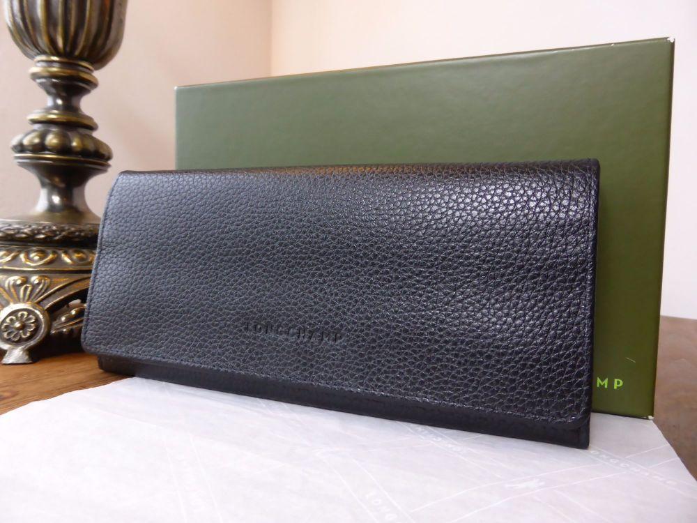 Longchamp Le Foulonné Continental Wallet in Black Foulonné Grained Leather