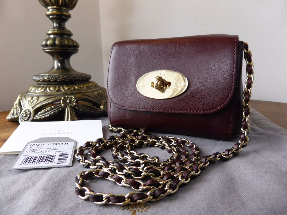Mulberry Mini Lily in Oxblood Natural Leather - New