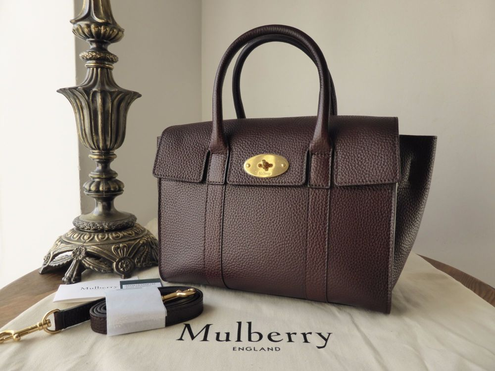 Mulberry Small New Bayswater in Oxblood Natural Grain Leather - New