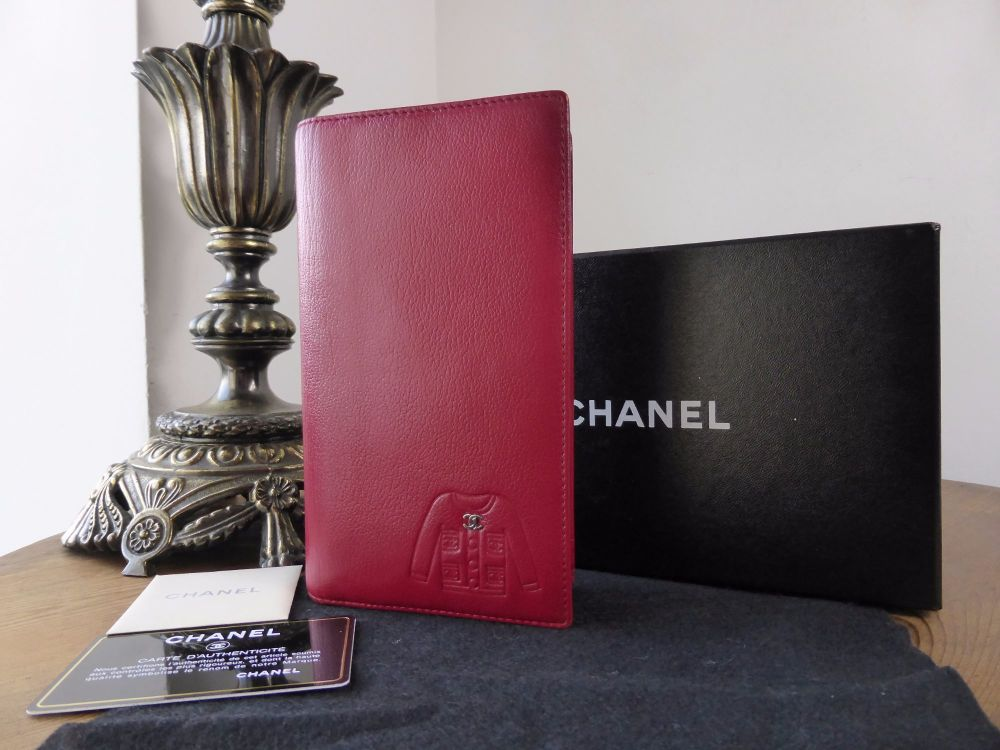 Chanel Embossed Jacket Long Wallet in Red Goatskin