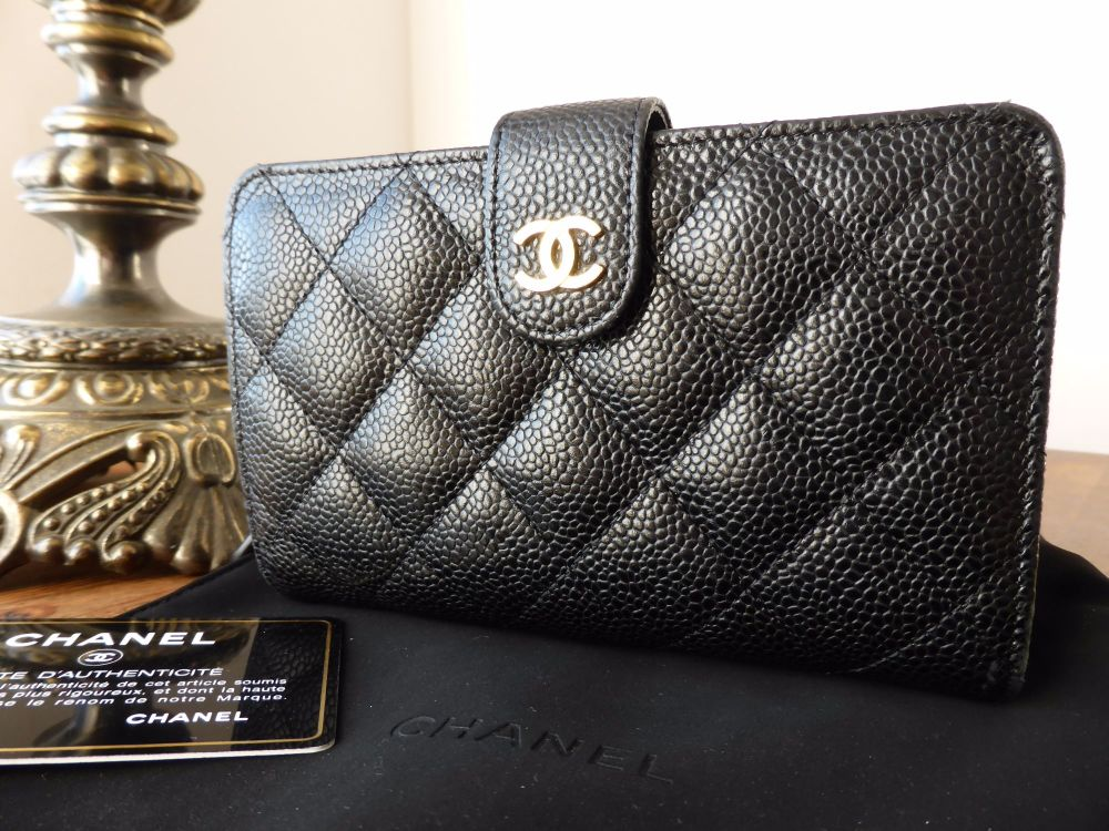 bb27a17b2772 Chanel Bifold Medium Wallet in Black Caviar with Gold Hardware ...