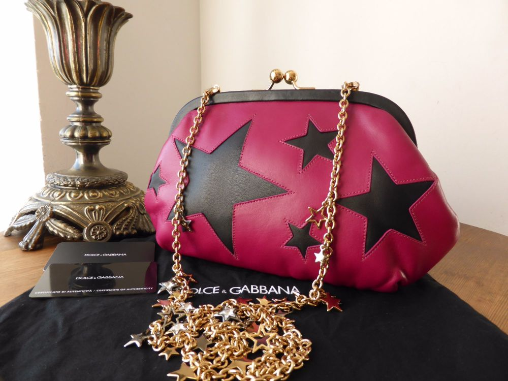Dolce & Gabbana Framed Clasp Shoulder Clutch in Cerise and Black Starred Na