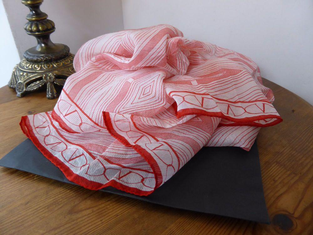 Valentino Geometric Print 100% Silk Chiffon Scarf - New