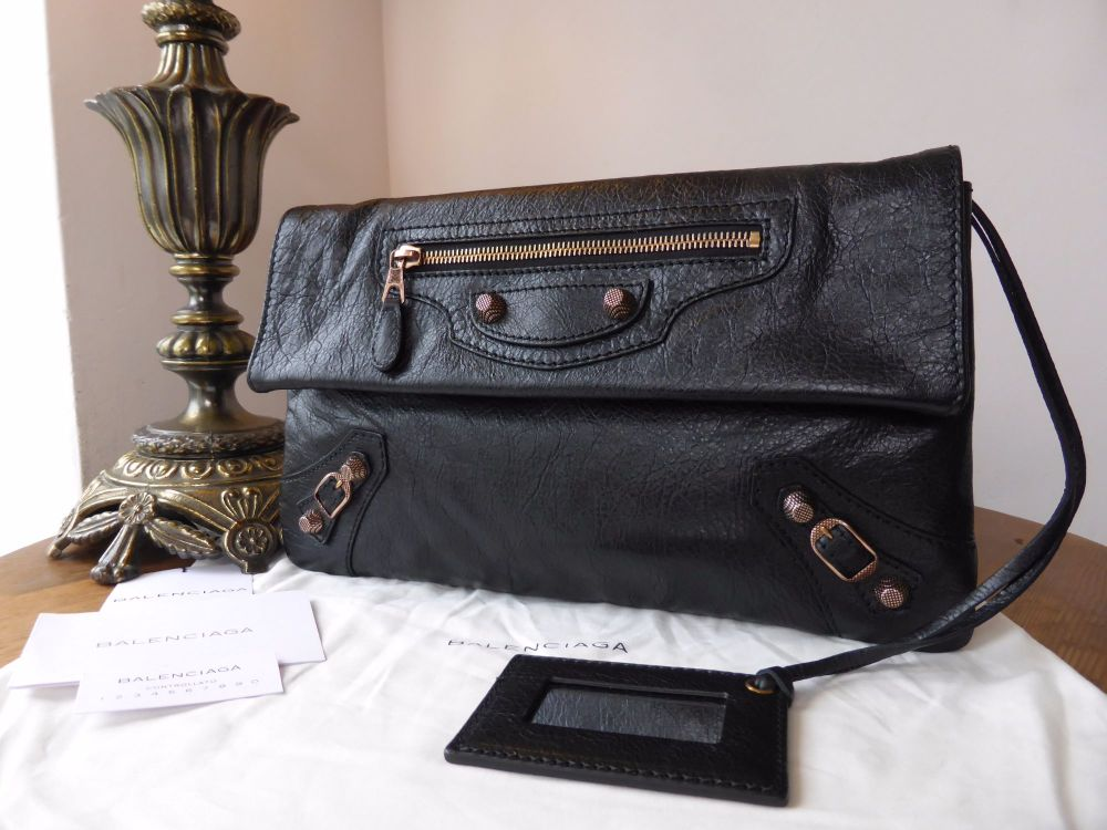 Balenciaga Envelope Clutch in Black Chevre with Giant 21 Rose Gold Hardware