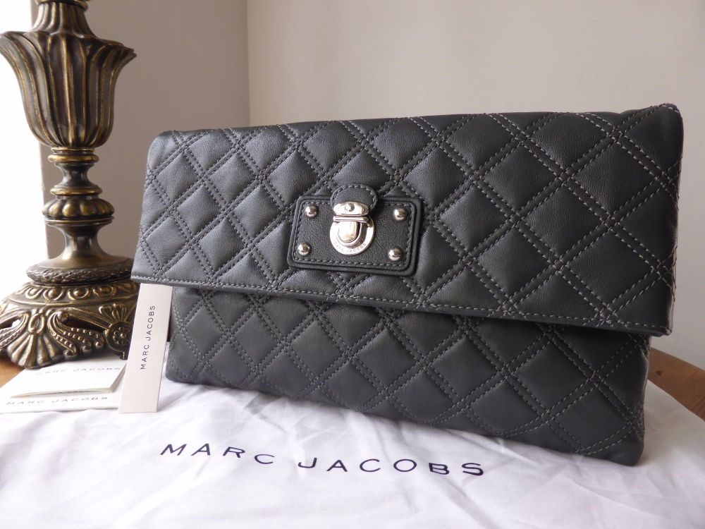 Marc Jacobs Eugenie Large Fold Over Clutch in Dark Grey Quilted Glazed Lamb