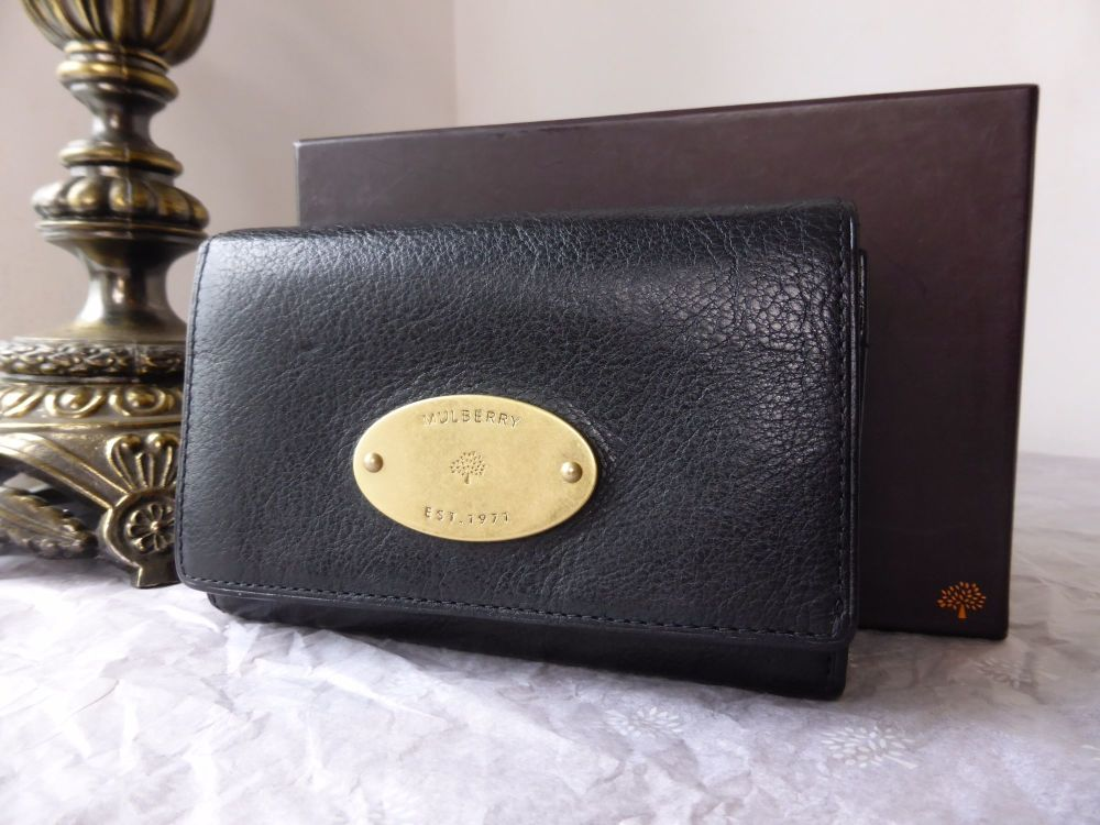 Mulberry French Purse in Black Natural Leather