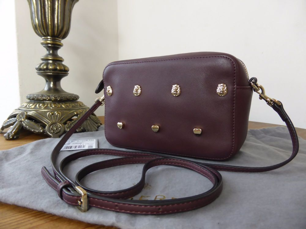 Mulberry Cara Rivet Strap Pochette in Oxblood Silky Classic Calf Leather
