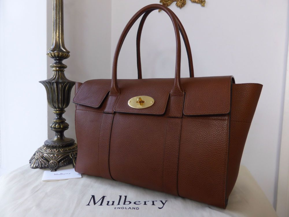 Mulberry New Bayswater in Oak Natural Grainy Vegetable Tanned Leather - As