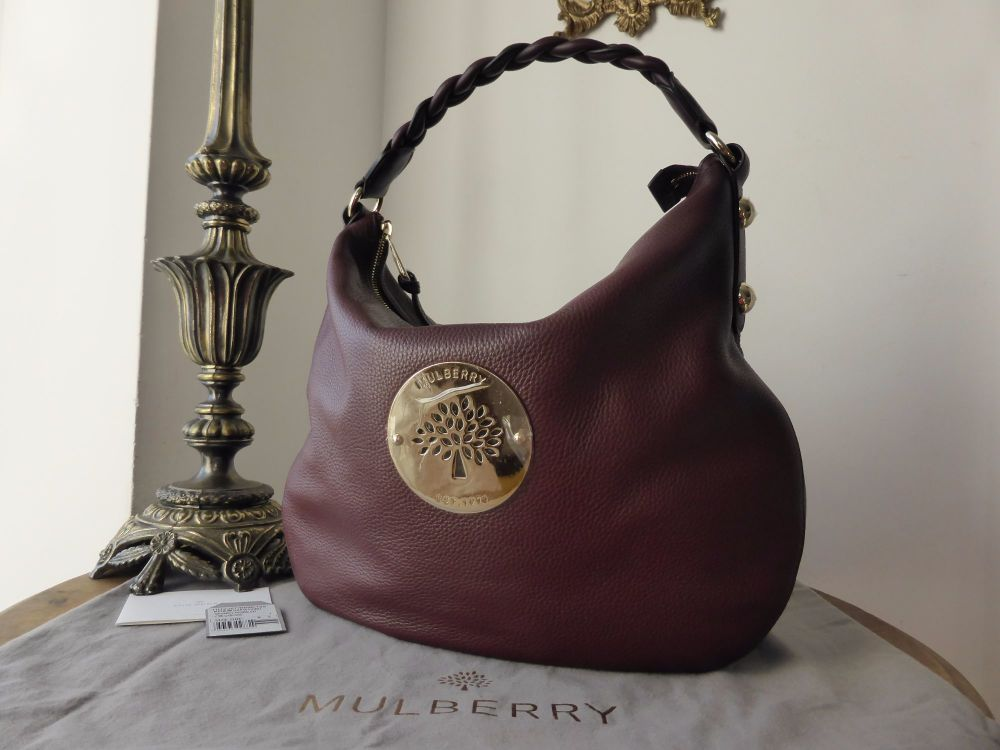 Mulberry Daria Medium Hobo in Oxblood Spongy Pebbled Leather - New