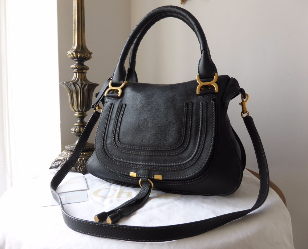 Chloe Marcie Medium Shoulder Satchel in Black Calfskin