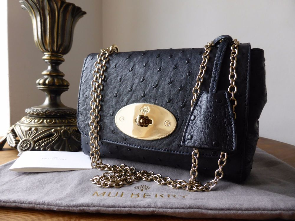 Mulberry Lily in Navy Ostrich Leather with Samorga Felt Liner - New