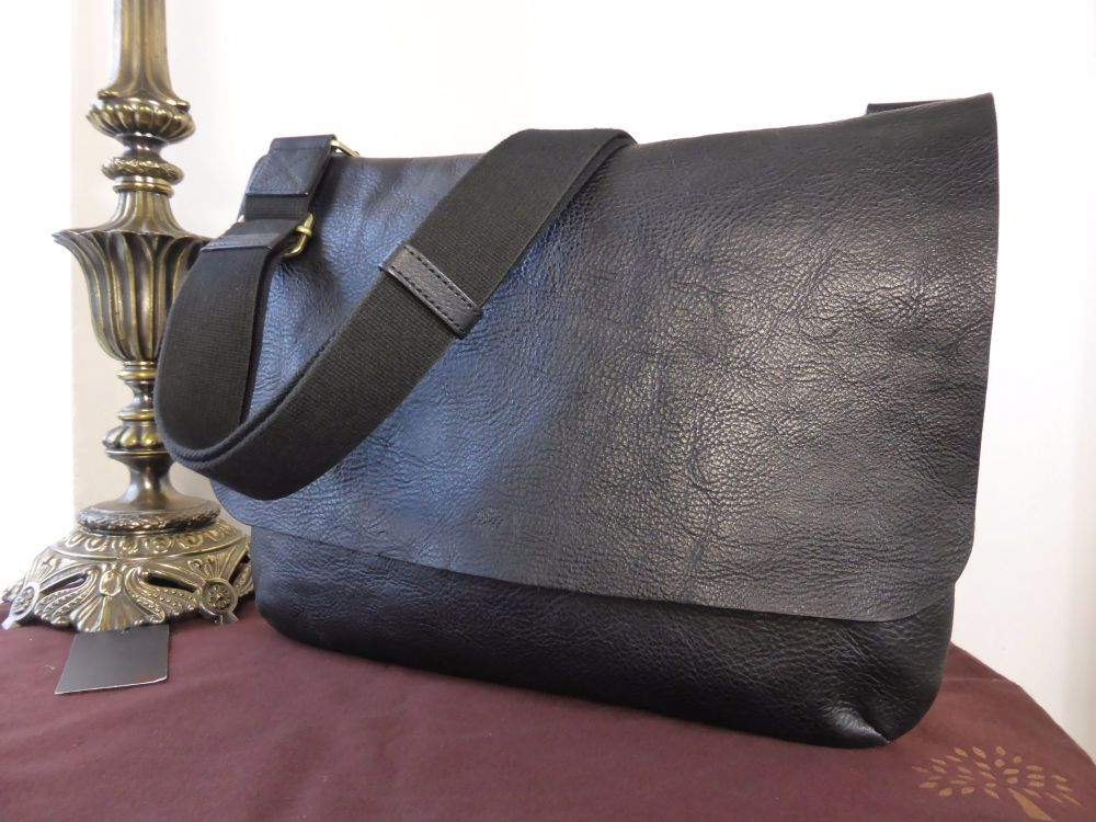 Mulberry Large Dan Messenger in Black Natural Leather