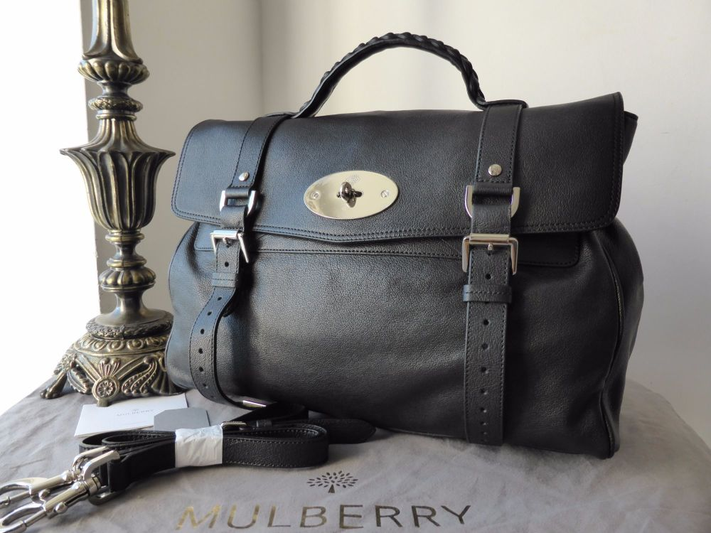 Mulberry Oversized Alexa in Black Polished Buffalo - New*