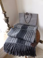 Mulberry Oversized Knitted Check Scarf in Mole Grey Angora Blend - New