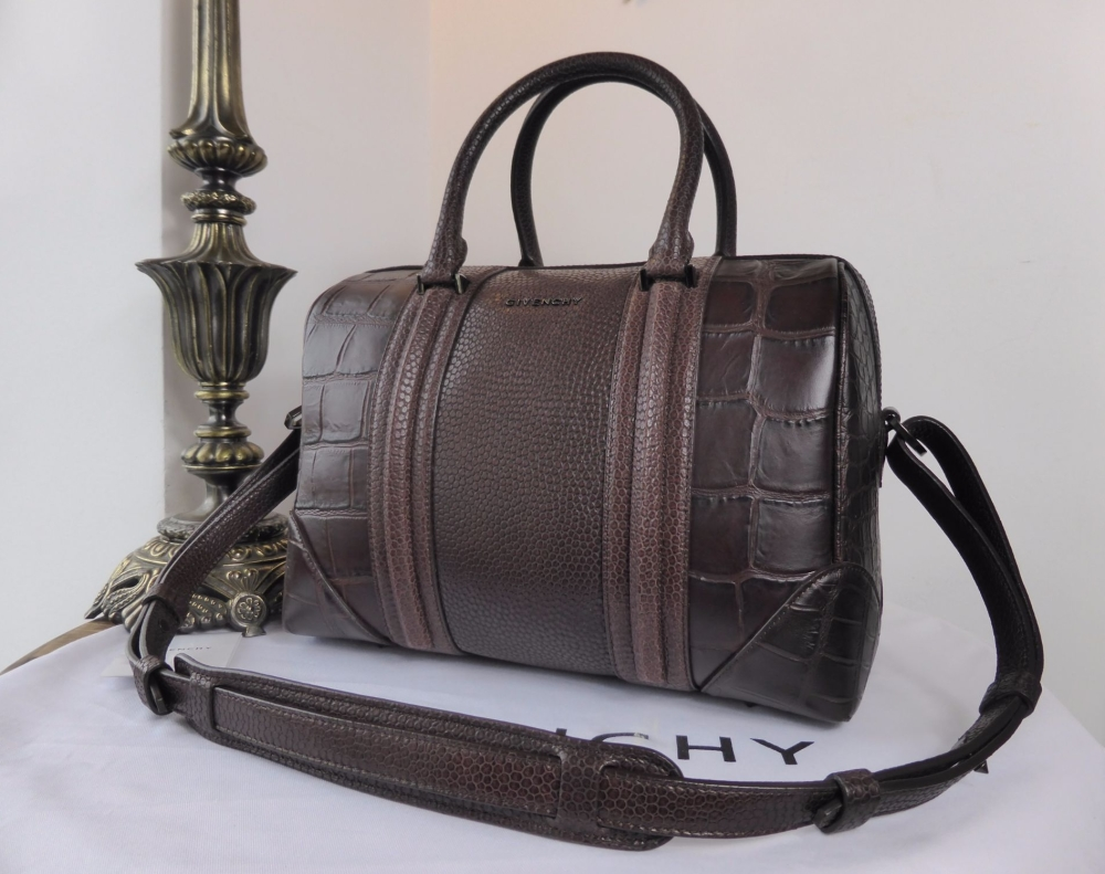 Givenchy Lucrezia Medium in Aubergine Animal Embossed Leather Bowling Bag