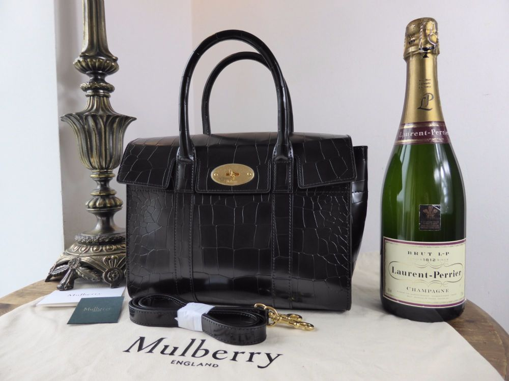 Mulberry Small New Bayswater in Black Polished Deep Embossed Croc Print Lea