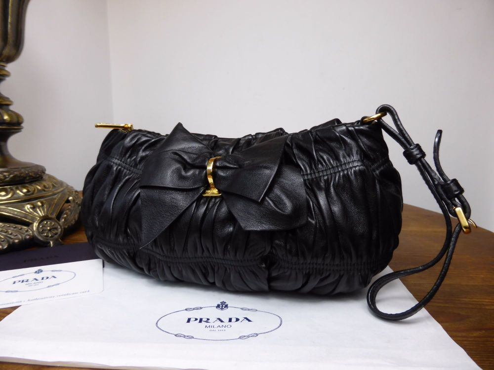 Prada Bow Wristlet Clutch in Black Nappa Gauffre