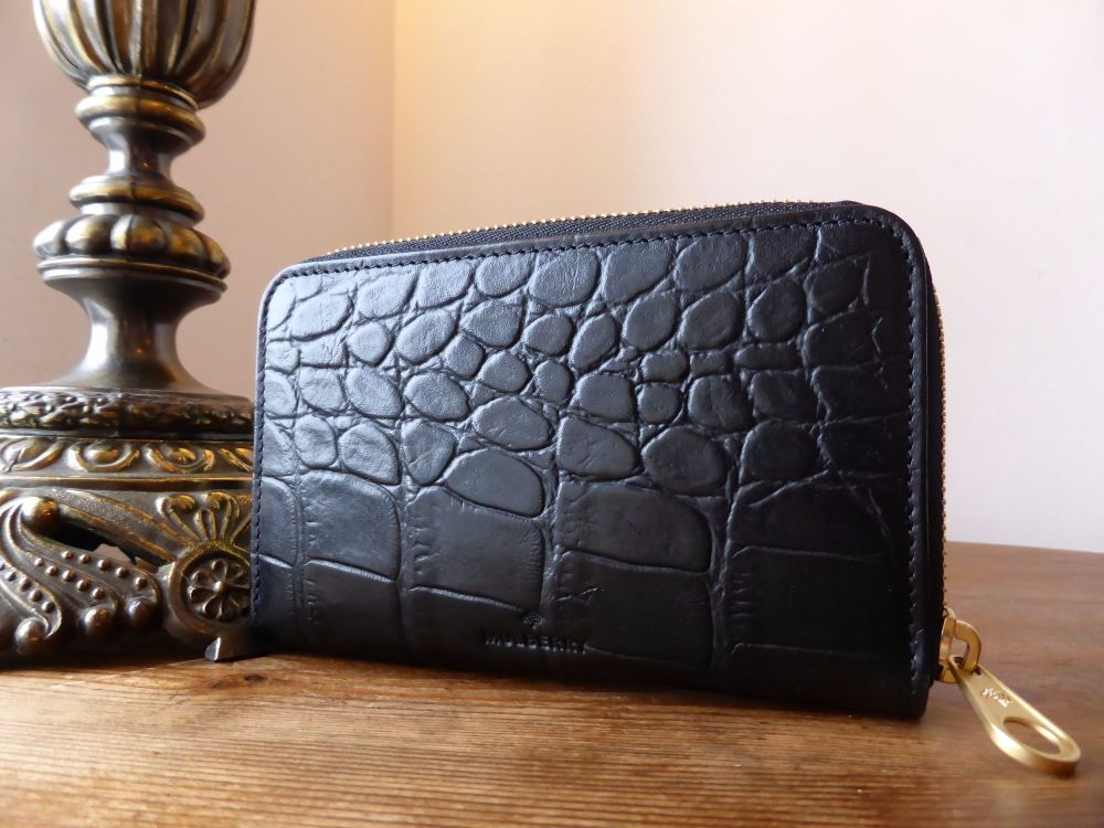 Mulberry Medium Bifold Purse in Black Printed Leather