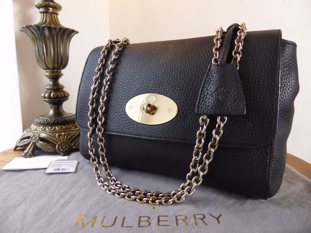 Mulberry Lily Medium in Black Soft Grain Leather with Shiny Gold Hardware