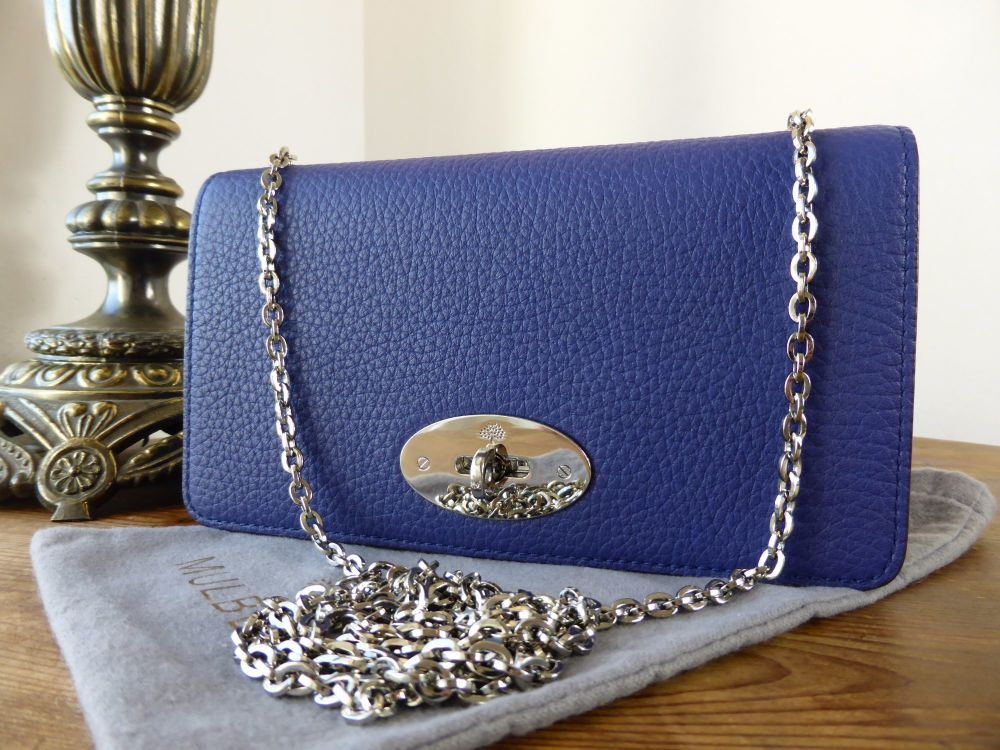 Mulberry Classic Bayswater Shoulder Clutch Wallet in Indigo Soft Grain Leat