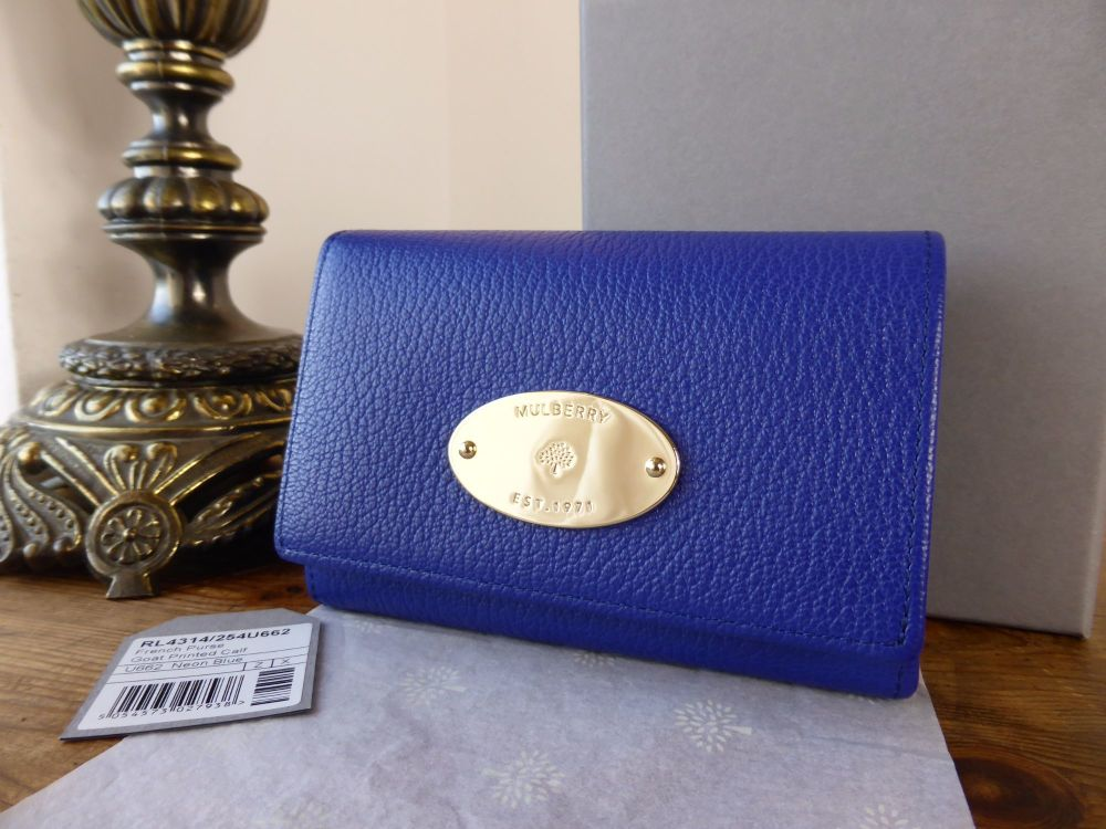 Mulberry French Purse in Neon Blue Printed Goatskin