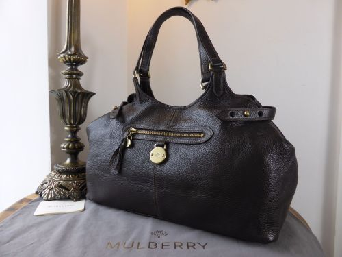 7cca1625545 ... black leather large bag encore cb0bd c5553; italy mulberry somerset  tote in chocolate pebbled leather sold 57a62 22f3a
