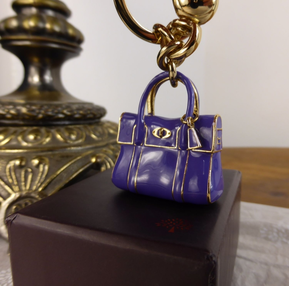 Mulberry Mini Bayswater Keyring Charm in Blueberry Enamel & Gold - New