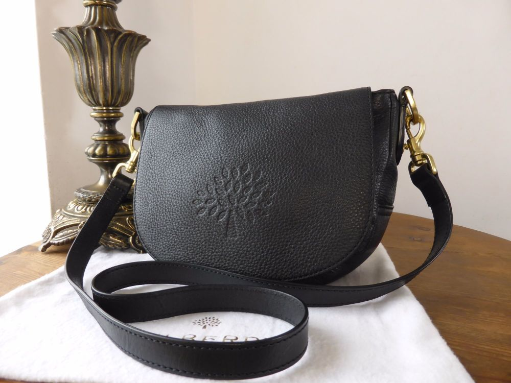 Mulberry Small Effie Satchel in Black Spongy Pebbled Leather (without Plait