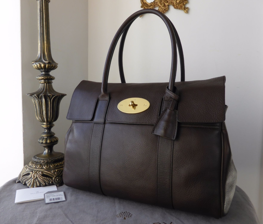 Mulberry Classic Bayswater in Chocolate Natural Leather with Brass Hardware