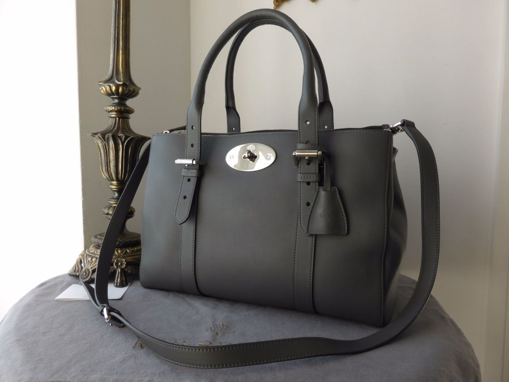 Mulberry Double Zip Bayswater Tote in Pavement Grey Silky Classic Calf (Lar