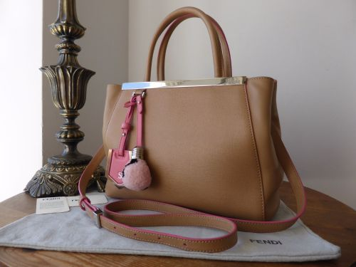 764878cc58b6 Fendi 2jours Petite Tote in Vitello Elite and Flamingo Pink with Shearling  Light Bulb Charm - SOLD