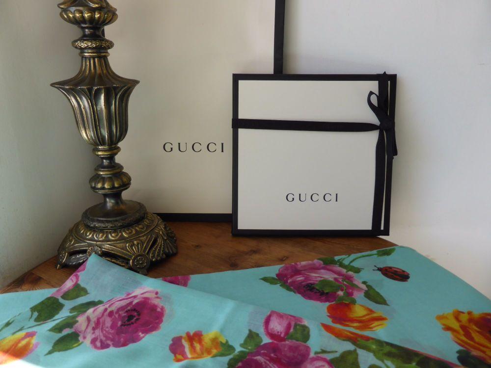 Gucci Floral Rose Blooms Print Silk & Wool Scarf Shawl - New