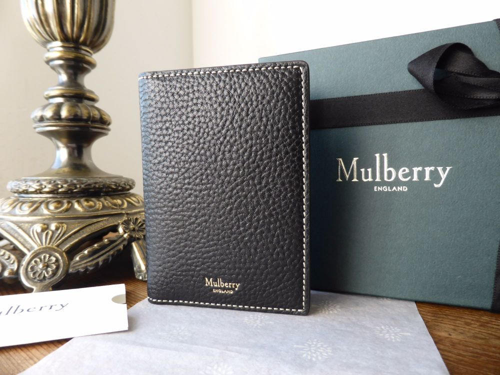 Mulberry Card Wallet in Black Natural Grain - New