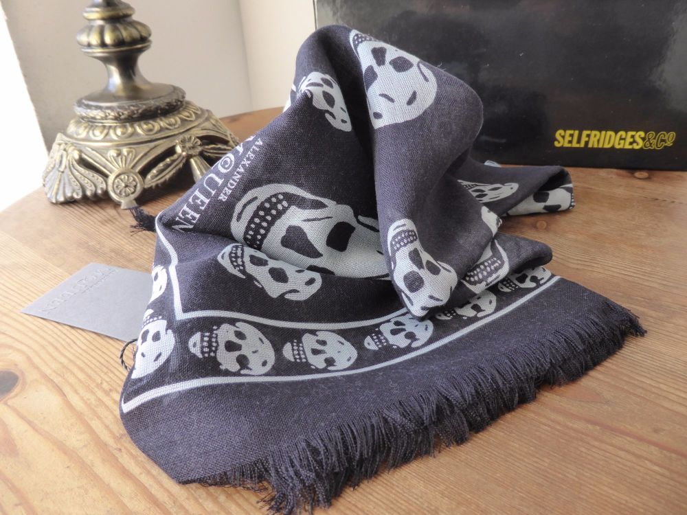 Alexander McQueen Skull Scarf in Navy and Grey Wool Silk Cashmere Blend - N